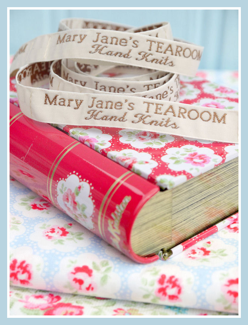 Mary Jane's TEAROOM Woven Labels x 4 / New / For MJT Hand Knits/Toy Knitting Patterns