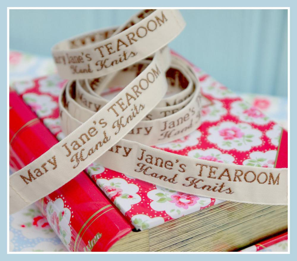 Mary Jane's TEAROOM Woven Labels x 2 / New / For MJT Hand Knits/Toy Knitting Patterns