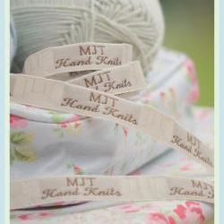 Mary Jane&#039;s TEAROOM Woven Labels x 4 /Small/ New / For MJT Hand Knits/Toy Knitting Patterns