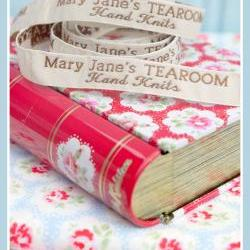 Mary Jane&#039;s TEAROOM Woven Labels x 4 / New / For MJT Hand Knits/Toy Knitting Patterns