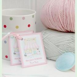 MJT Handmade Gift Tags x 4 / MJT Toy Knitting Patterns/ Plaster Pink/ Duck Egg Satin Ribbon/Tearoom Illustration