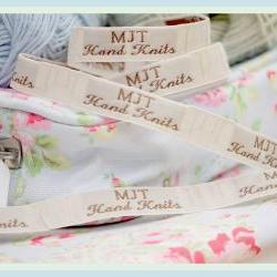 Mary Jane's TEAROOM Woven Labels x 2/ Small / New / For MJT Hand Knits/Toy Knitting Patterns