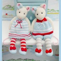 MJT Little Gems 1 &#039;Tearoom Mice&#039; Pdf/ Email Toy Knitting Pattern